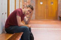 有皱眉的英俊的学生头疼 免版税库存图片