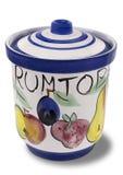 有盒盖的装饰的瓦器Rumtopf罐 库存图片