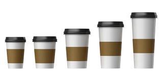 有盖子和耐热纸的空白的一次性杯子,额外,小,中等,大 库存图片