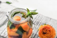 有盖子用水,解毒作用与桃子片断和杏子的水罐,与冰关闭-  在一轻的backg的一份刷新的饮料 库存图片