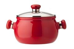 有盖子的红色罐,查出在空白背景 免版税库存照片