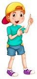 有盖帽的男孩指向他的手指的 向量例证