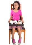 有盘子的女孩茶IV 图库摄影
