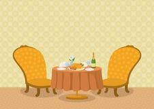 有盘的餐馆在桌上 库存图片