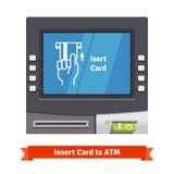 有目前业务的ATM机器在屏幕上 免版税图库摄影