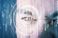 有目标矩阵眼睛的现代网络战士 免版税库存图片