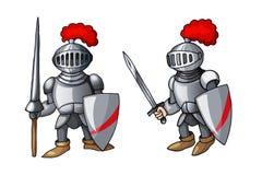 有盾和剑的动画片中世纪骑士,隔绝在白色背景 免版税库存照片
