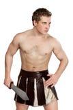 有盾的年轻男性战士 图库摄影