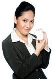 有看板卡的女实业家 免版税库存图片