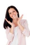 有看照相机的美好的微笑的深色的女孩 免版税库存照片
