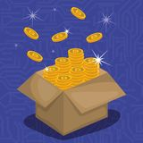 有真正硬币的纸盒箱子 皇族释放例证