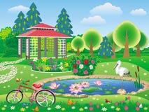 有眺望台和池塘的美丽的风景庭院 免版税库存图片