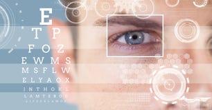 有眼睛焦点箱子细节的人和线和眼睛测试接口 库存照片