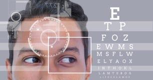 有眼睛焦点箱子细节的人和线和眼睛测试接口 免版税库存照片