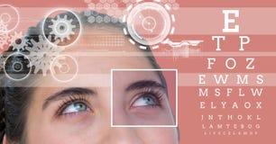 有眼睛焦点箱子细节的妇女和线和眼睛测试接口 免版税库存照片