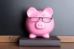 有眼睛玻璃的存钱罐在书 免版税库存图片