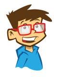 有眼镜的动画片微笑的男孩 免版税库存图片