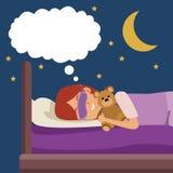 有睡眠面具的五颜六色的场面女孩作梦在床上的在晚上拥抱了玩具熊 向量例证