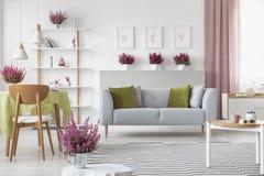有石南花的典雅的客厅在架子、白色家具、时髦的木咖啡桌、被仿造的地毯和灰色长沙发 库存图片