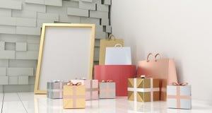 有石墙的,礼物盒,购物的纸袋现实室 库存图片