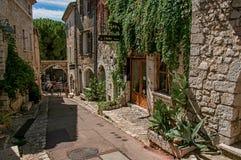 有石房子和商店的胡同圣徒保罗deVence的 免版税库存图片