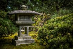 有石灯笼的日本庭院 免版税图库摄影