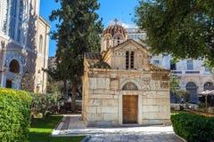 有石雕刻的历史的拜占庭式时代教会在exterio 库存照片