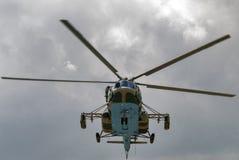 有矿的俄国军用直升机MI-8 免版税库存图片