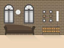 有砖墙的2客厅 免版税图库摄影