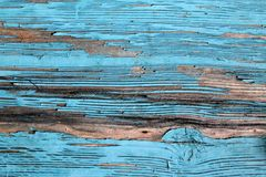 有破裂的油漆的,葡萄酒,木头,背景老蓝色委员会 免版税图库摄影