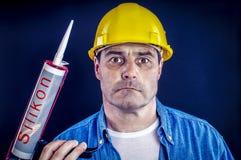 有硅树脂的建筑工人 免版税图库摄影