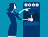 有硬币分配器机器的女实业家 概念企业不适 免版税库存图片