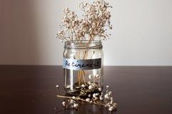 有硬币和干植物的退休概念瓶子 免版税库存图片