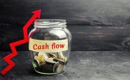 有硬币和题字的'现金流动'和箭头玻璃瓶子 财务的概念 财产投资和成长,retireme 免版税库存照片