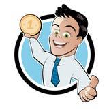 有硬币的人 免版税库存照片