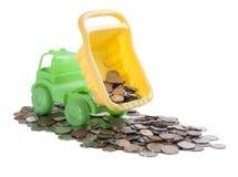 有硬币的卡车 图库摄影