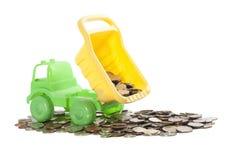 有硬币的卡车 免版税库存照片