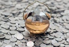 有硬币的罐在硬币 免版税库存图片
