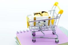 有硬币的购物车零售业的 网上和离线购物的,市场图象用途全世界,事务 库存照片