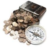 有硬币的配件箱 免版税库存图片