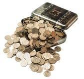 有硬币的配件箱 库存照片