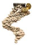 有硬币的配件箱 免版税库存照片