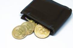 有硬币的Bitcoin钱包在白色背景 免版税库存图片