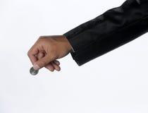 有硬币货币的手 免版税图库摄影