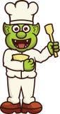 有碗和小铲动画片的滑稽的Orc厨师 库存图片