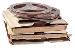 有磁带的老葡萄酒片盘在白色 免版税库存图片