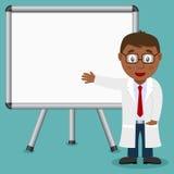 有磁性委员会的黑人男性医生 图库摄影