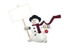 有礼品的愉快的雪人 图库摄影