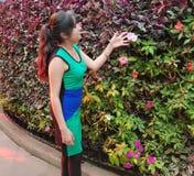 有礼服的少妇观察和接触花的叶子 免版税图库摄影