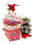 有礼物和圣诞树的装饰玩具 免版税库存照片